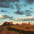 Monument Valley about 1987 three buttes road and sky